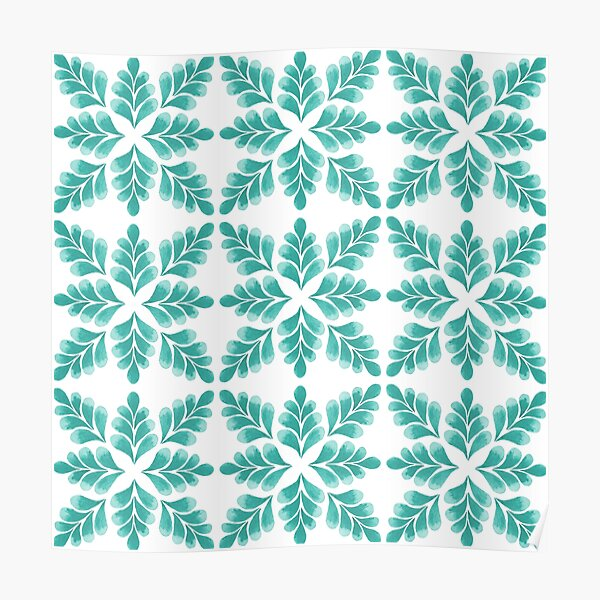 Abstract Floral Pattern   Turquoise color Palette Art Print Poster