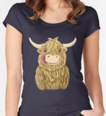 Cartoon Scottish Highland Cow Women's Fitted Scoop T-Shirt