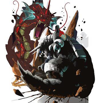 Graphic Aggron vs Gyarados by Gigan91