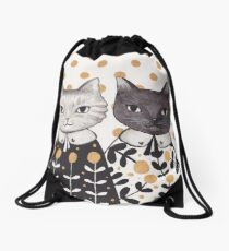 Kittens in Capes Drawstring Bag