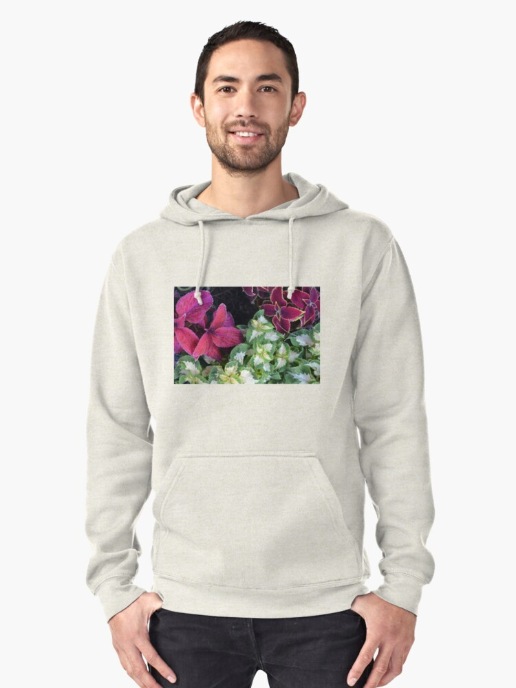 Colorful green and purple leaves pattern Pullover Hoodie Front