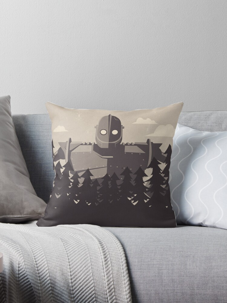 The Iron Giant Throw Pillows by Jonny Eveson Redbubble