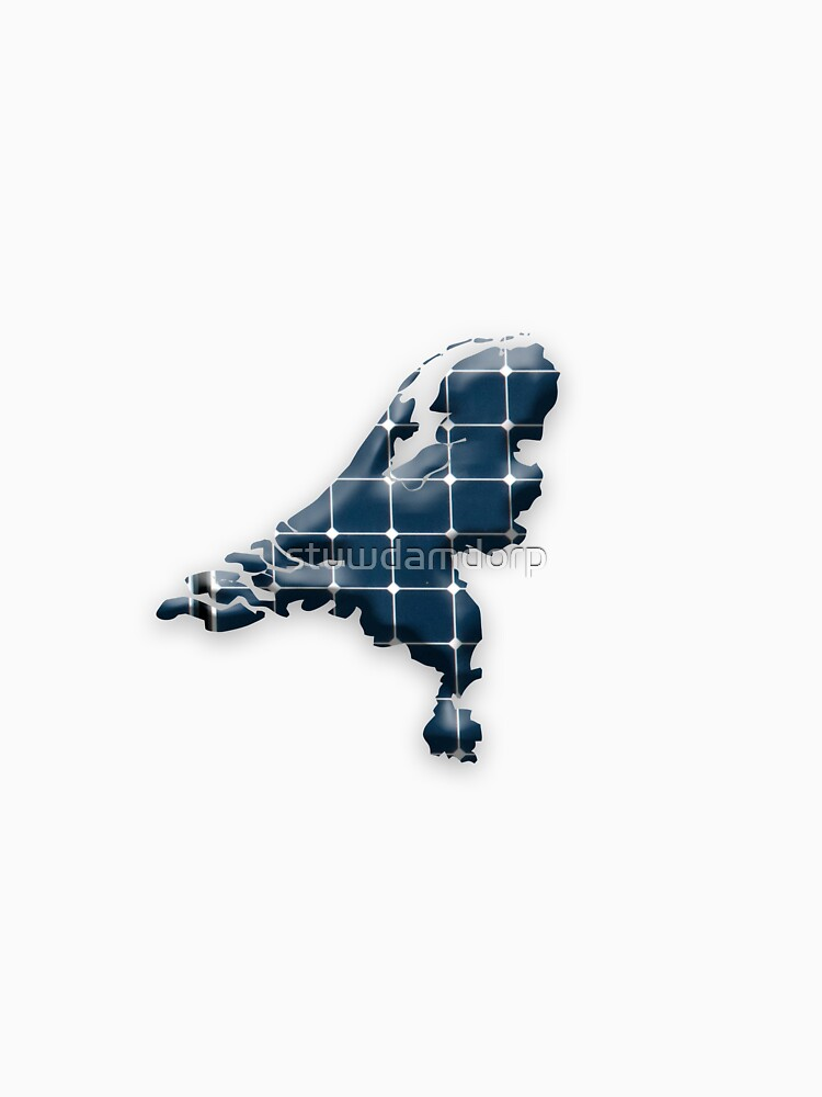 Map of the Netherlands with photovoltaic solar panels.  by stuwdamdorp