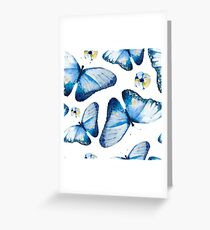 Beautiful big butterflies and pansies in blue tones, fun bold animal print design in blue and pale yellow, classic statement fashion clothing, soft furnishings and home decor  Greeting Card