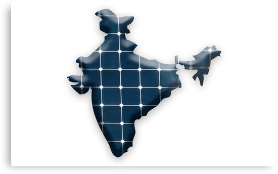 Map of India with photovoltaic solar panels.  by stuwdamdorp