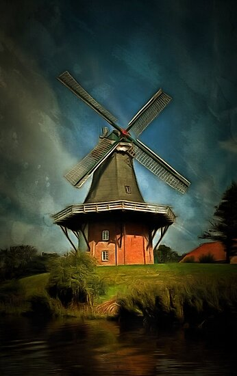 The Windmill at Greetsiel, Leybucht in East Frisia, Germany by Dennis Melling