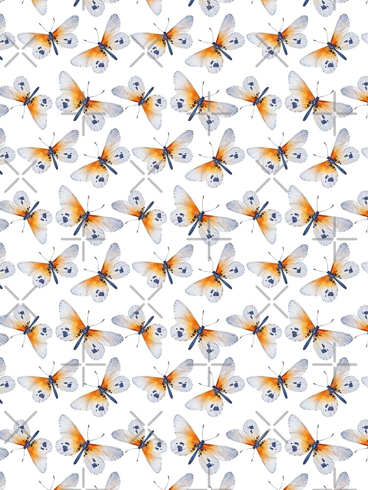 Small pretty orange butterfly and white butterfly design, cute bold animal print design in orange and white, classic statement fashion clothing, soft furnishings and home decor  by Mindreader