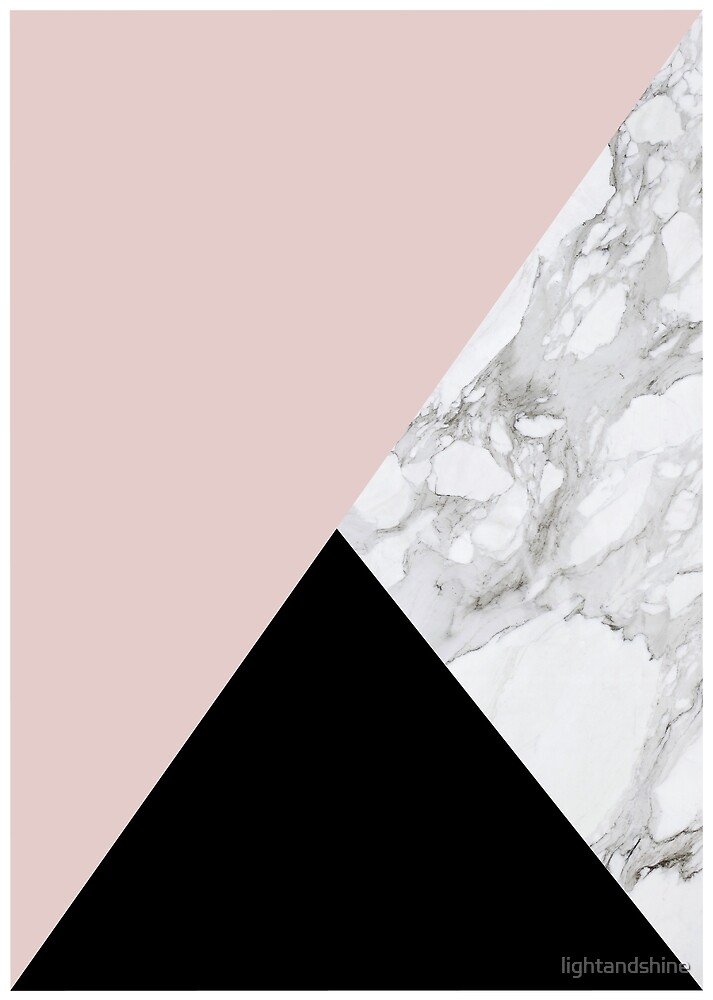 Marble, Pink and Black Triangles by lightandshine