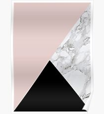 Marble, Pink and Black Triangles Poster