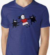 Happy Jumping Cats Mens V-Neck T-Shirt