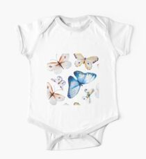 Butterflies multi colour in flight, pretty blue, orange, brown and white butterfly design, cute bold animal print design, classic statement fashion clothing, soft furnishings and home decor  Kids Clothes