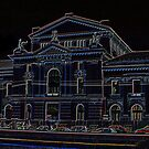 A line art on black of The Cultural Palace in Drobeta Turnu Severin, Romania by Dennis Melling