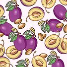 Romantic plum pattern by smalldrawing