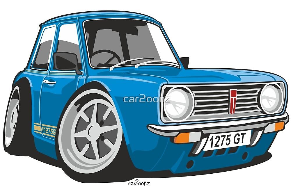 Mini Clubman 1275GT caricature blue by car2oonz