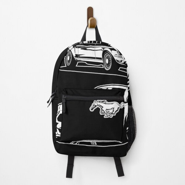 Ford Mustang first generation and latest model pony GT Eco boost 2016 illustration graphics Backpack