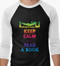 KEEP CALM AND READ A BOOK (RAINBOW) Men's Baseball ¾ T-Shirt
