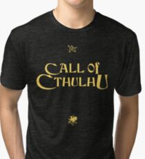 CALL OF CTHULHU - Logo (gold with elder sign & chaosium) Tri-blend T-Shirt