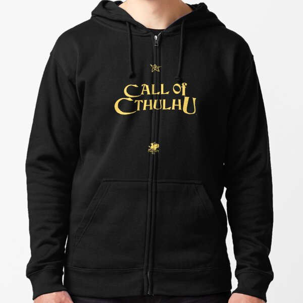 Call of Cthulhu - Logo (gold with Elder Sign & Chaosium Inc. Logo) Zipped Hoodie