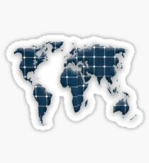 Map of the world with photovoltaic solar panels. Sticker