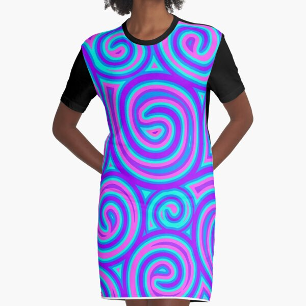 Psychedelic Trippy Hippy Artwork Graphic T-Shirt Dress