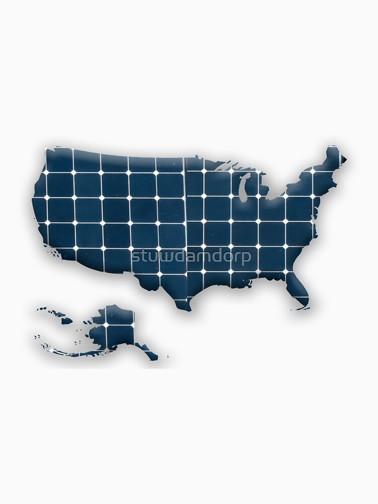 Map of the USA with photovoltaic solar panels.  by stuwdamdorp