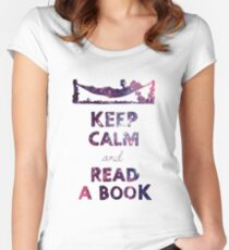 KEEP CALM AND READ A BOOK (Space) Women's Fitted Scoop T-Shirt