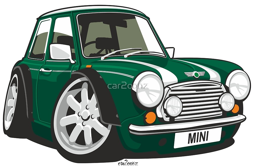 Rover Mini caricature green by car2oonz