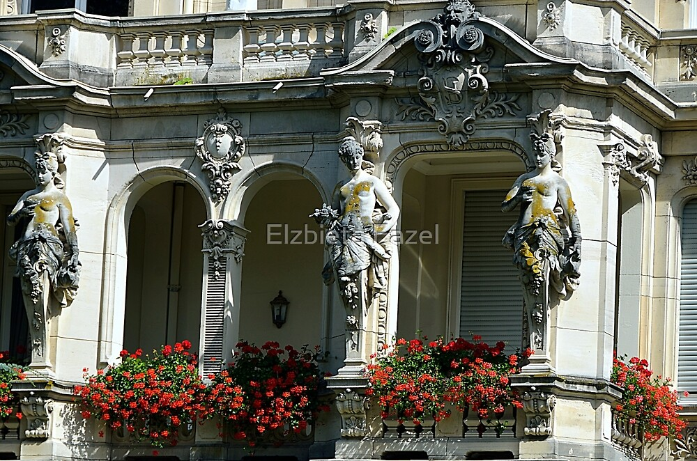 The Caryatid Porch in Baden-Baden, Germany by Elzbieta Fazel
