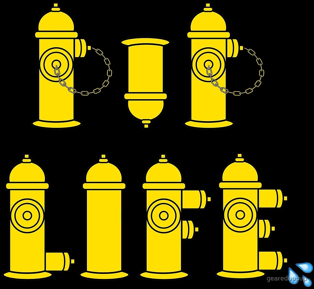 Pup Life - Yellow Fire Hydrants on Black Background by geareduppup