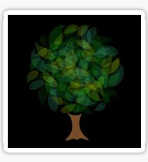 Tree with leaves in shades of green Sticker