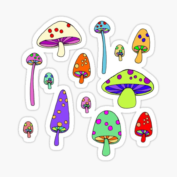 Technicolor Mushrooms  Sticker