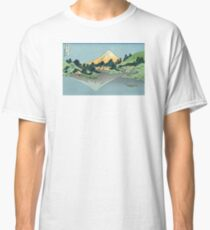 Hokusai Katsushika - Mount Fuji reflects in Lake Kawaguchi, seen from the Misaka Pass in Kai Province Classic T-Shirt