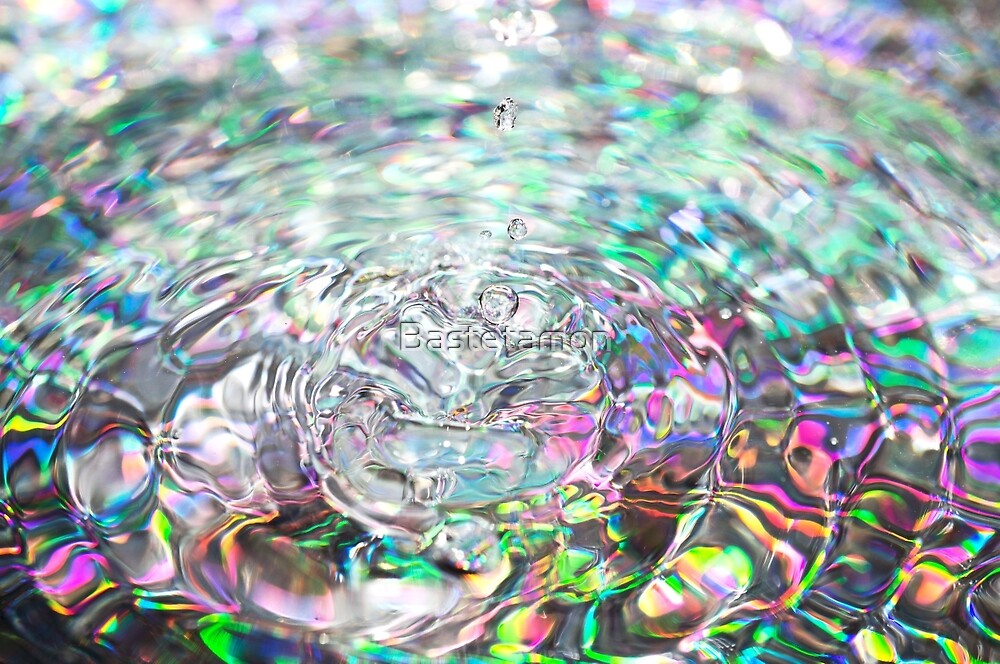 Colorful background with ripples and drops by Bastetamon