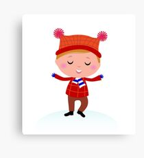 Little Boy in winter costume isolated on white Canvas Print
