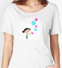 Little girl blowing bubbles - cartoon Vector illustration Women's Relaxed Fit T-Shirt