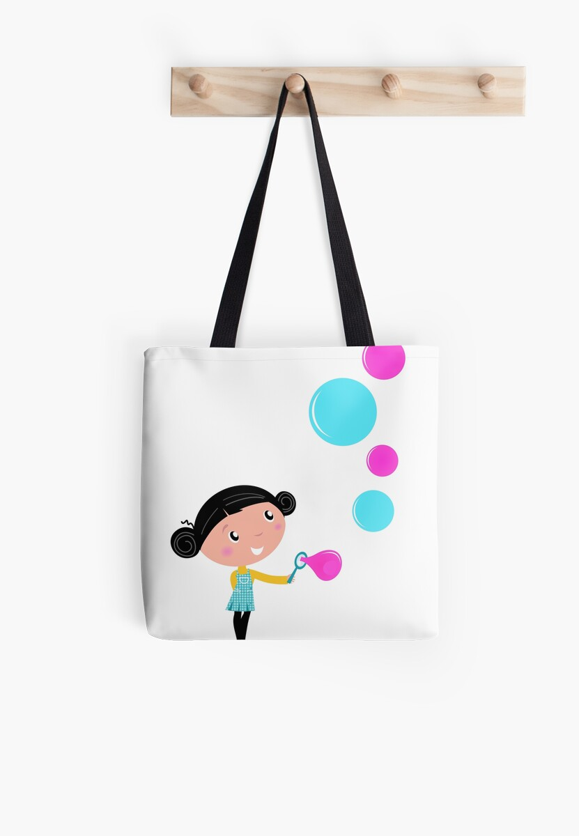 Little girl blowing bubbles - cartoon Vector illustration by Bee and Glow Illustrations Shop