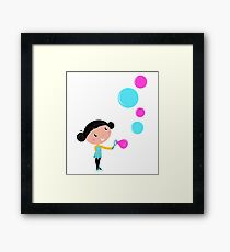Little girl blowing bubbles - cartoon Vector illustration Framed Print