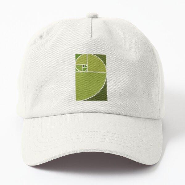 green fibonacci spiral golden ratio Dad Hat