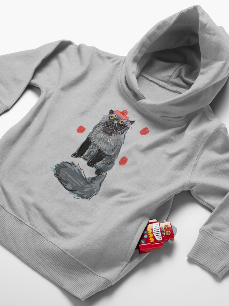 Alternate view of Freddy-Cat pattern in EggPlant color Toddler Pullover Hoodie