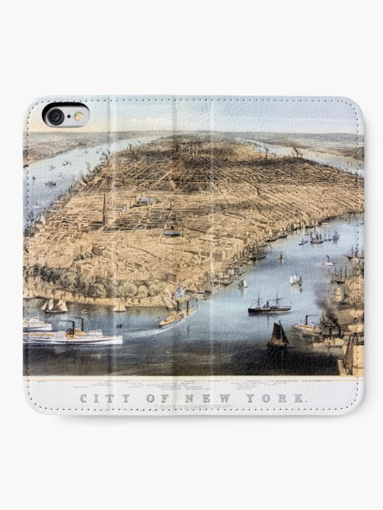 Vista alternativa de Fundas tarjetero para iPhone Nueva York Vintage Vista aérea restaurada 1856
