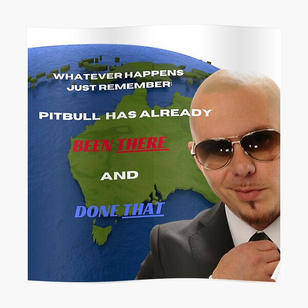 Pitbull Mr. Worldwide Tiktok Meme Believe me been there done that Poster