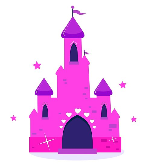 Wild pink Princess castle isolated on white background by Bee and Glow Illustrations Shop
