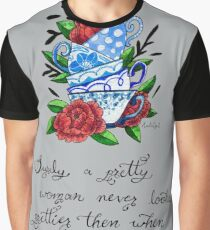 Pretty Teacup Watercolor Painting Graphic T-Shirt