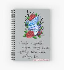 Pretty Teacup Watercolor Painting Spiral Notebook