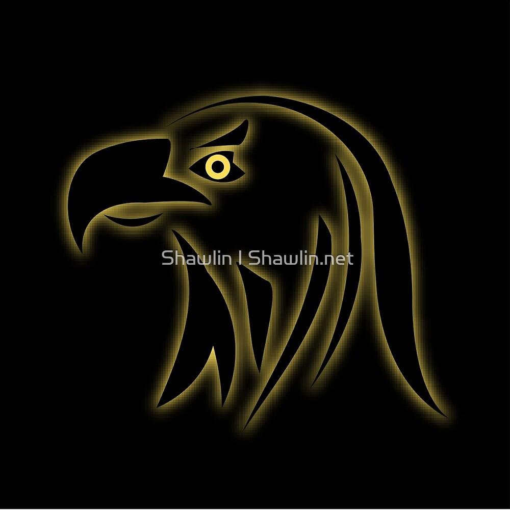 Glowing eagle on black  by Shawlin Mohd