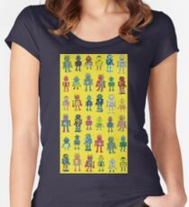 Robot Line-up on Yellow Women's Fitted Scoop T-Shirt