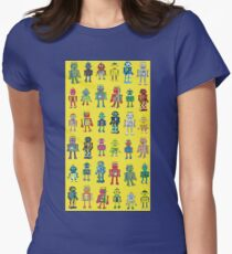 Robot Line-up on Yellow - fun pattern by Cecca Designs Women's Fitted T-Shirt