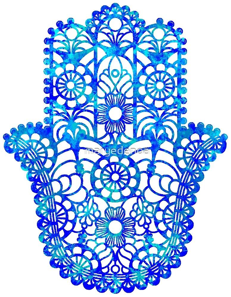 Blue Watercolor Hamsa by maryedenoa