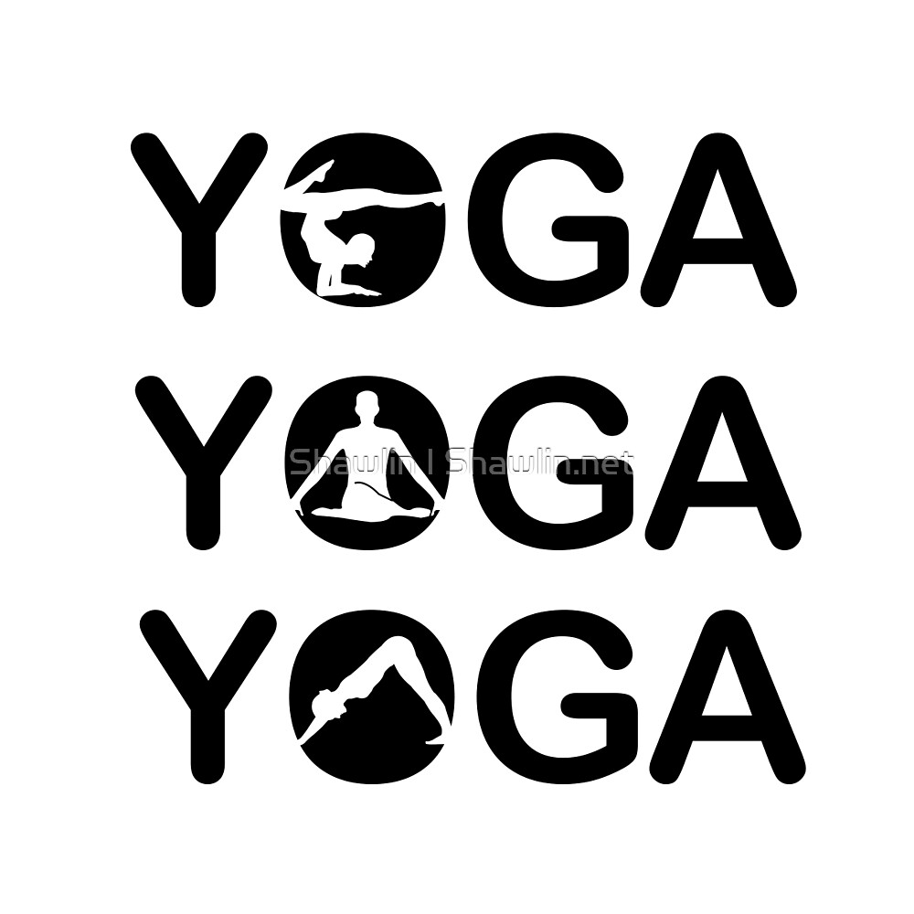 Yoga text with silhouette of people  by Shawlin Mohd