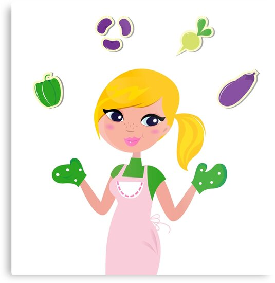 Woman preparing Healthy Food : this Design is original illustration in our Shop by Bee and Glow Illustrations Shop